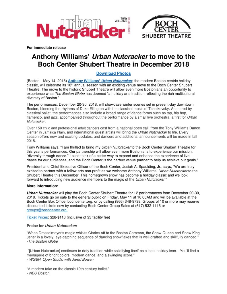 Urban Nutcracker Boch Center Shubert Theatre Press Release-1