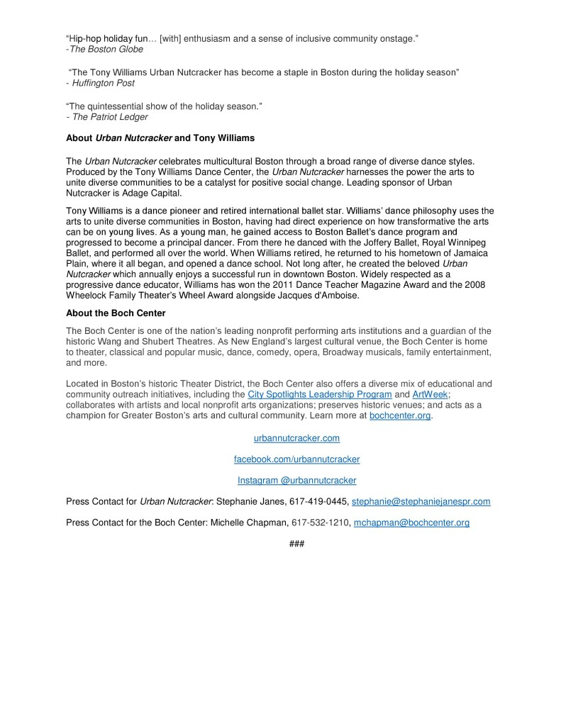 Urban Nutcracker Boch Center Shubert Theatre Press Release-2